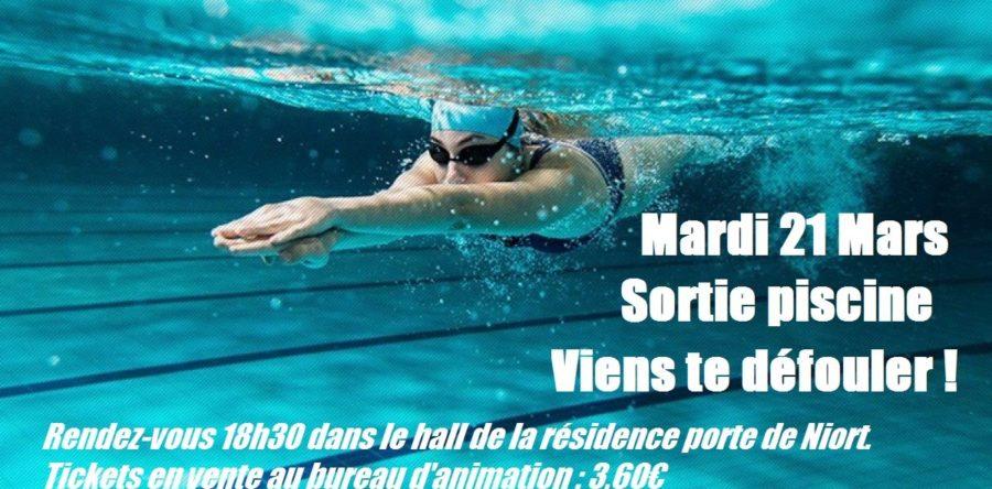 Sortie piscine : Mardi 21 mars 2017 Viens te défouler !