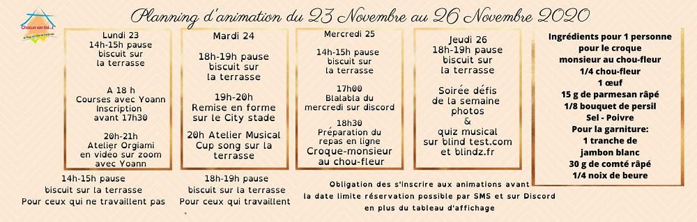 planning d'animation du 23 au 26 novembre 2020