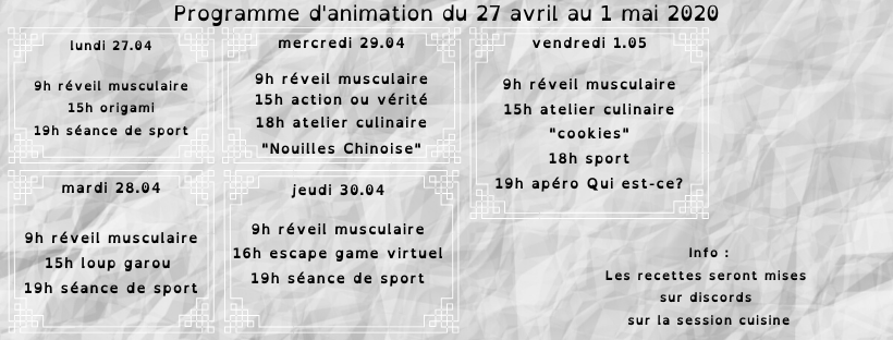 programme d'animation du 27/04 au 1/05 2020