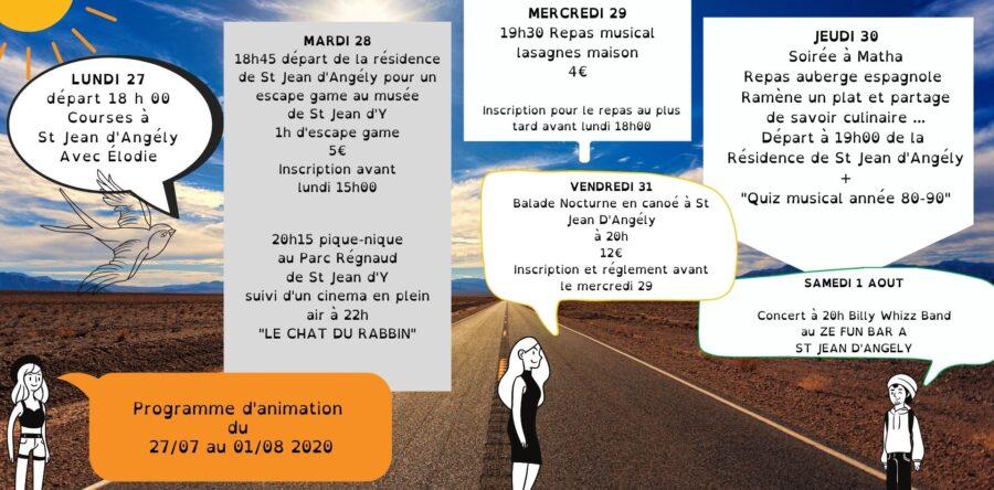 planning d'animation du 27 Juillet au 1 Août 2020