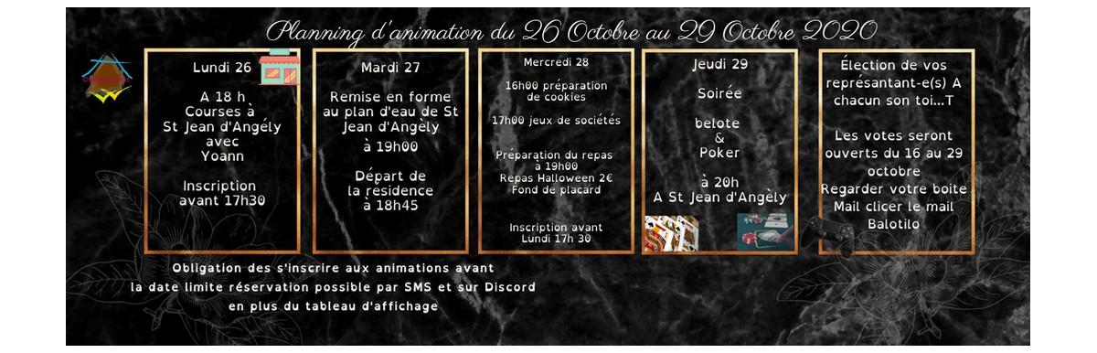 planning d'animation du 26 au 29 octobre 2020